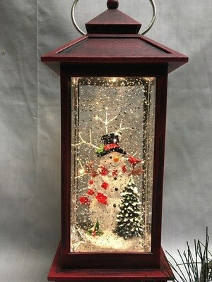 Water Lantern with Snowman Scene - Red LED - 11 inches - Lights up and Blows glittering Snow