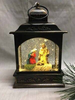 Water Lantern with Nativity Scene - Bronze LED - Lights up and Blows glittering Snow