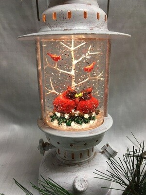 Water Lantern with Cardinal Pair and tree - White LED - Lights up and Blows glittering Snow