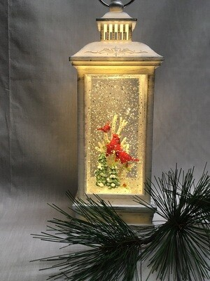 Water Lantern with Cardinals - White LED - Lights up and Blows glittering Snow