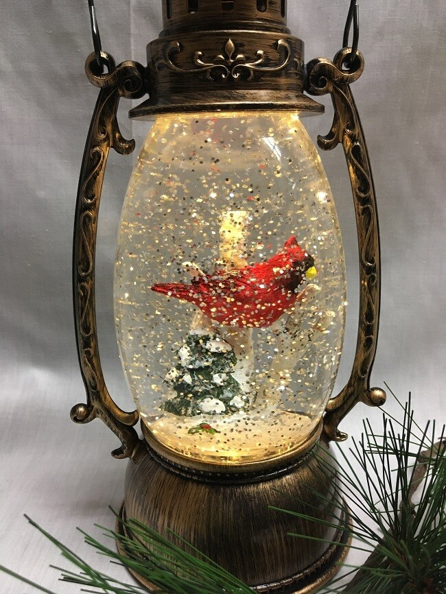 Water Lantern with Cardinal and Birch Tree - Bronze LED - Lights up and Blows glittering Snow