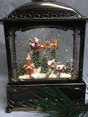 Water Lantern with Flying Santa Scene - Bronze LED with Timer - Lights up and Blows glittering Snow