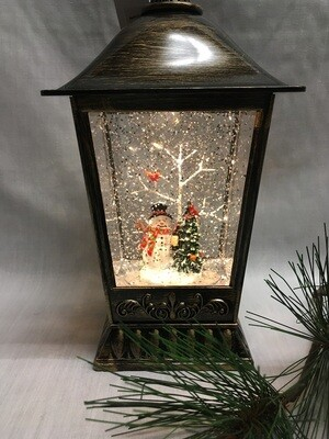 Water Lantern with Snowman and Christmas Tree - Bronze LED - Lights up and Blows glittering Snow