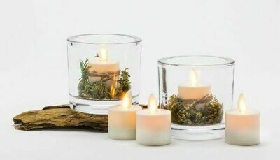 Ivory - Set of 2 Tealights - 1.5 x 2 inch Reallite Flameless Candle with Timer - moving flame