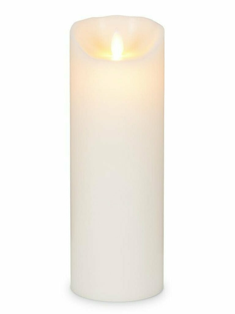 Ivory - Large 3 x 9 inch Reallite Flameless Candle with Timer - moving flame