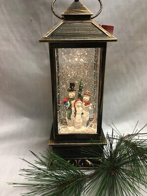 Water Lantern with Snowman Family - Bronze LED - Lights up and Blows glittering Snow