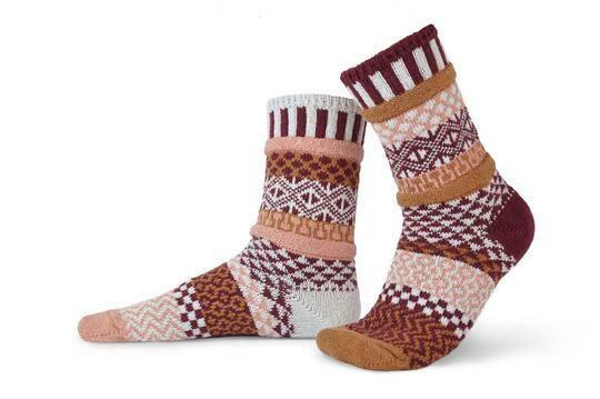 Amaranth - Small - Mismatched Crew Socks - Solmate Socks