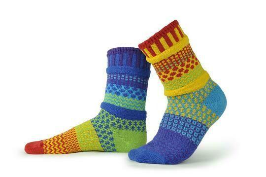 Rainbow - Large - Mismatched Crew Socks - Solmate Socks