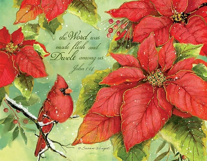 Lang Christmas Cards - Poinsettia Grace - 18 per Box