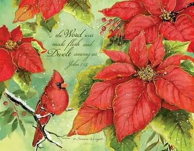 Lang Christmas Cards - Poinsettia Grace - 18 per Box