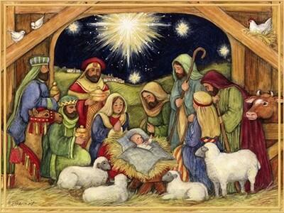 Lang Christmas Cards - Adore Him - Nativity Scene - 18 per Box