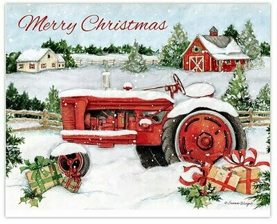 Lang Christmas Cards - Snowy Tractor - 18 per Box
