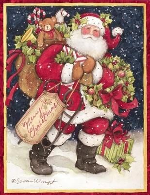 Lang Christmas Cards - Snowy Night Santa - 18 per Box