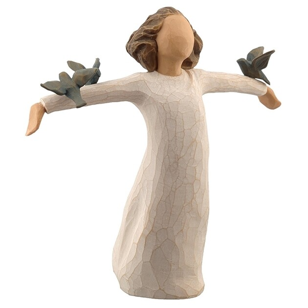 Willow Tree: Happiness - Girl with arms out holding  blue birds