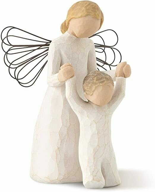 Willow Tree: Guardian Angel - Angel helping child walk  - Wire Wings