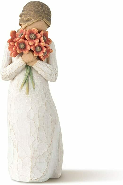 Willow Tree: Surrounded by Love - Girl with bouquet of Flowers