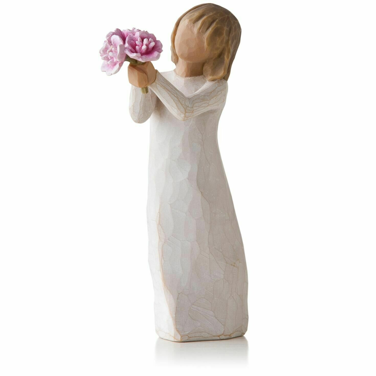 Willow Tree: Thank you - Girl holding Pink Flowers
