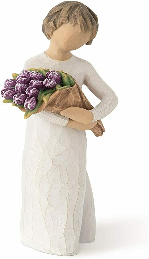 Willow Tree: Surprise - Child Holding Bouquet of Purple Tulips