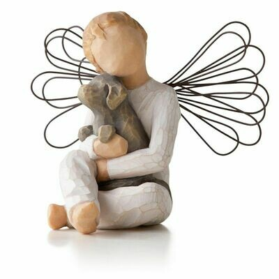Willow Tree: Angel of Comfort - Sitting Holding Puppy Dog - Wire Wings