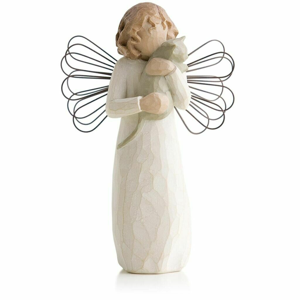 Willow Tree: With Affection - Angel Standing Holding Cat - Wire Wings