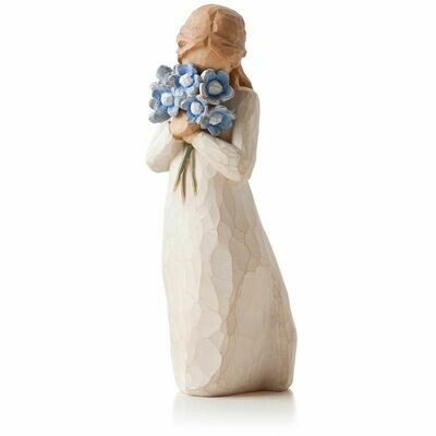 Willow Tree: Forget me not - Girl holding blue flowers