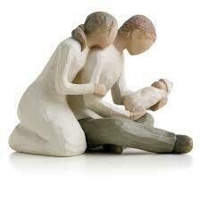 Willow Tree: New Life - Mother and Father kneeling with Baby
