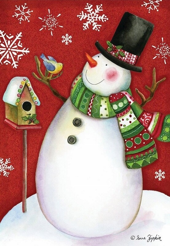 "Frosty Friends - Snowman - House Flag - 28"" x 40"""