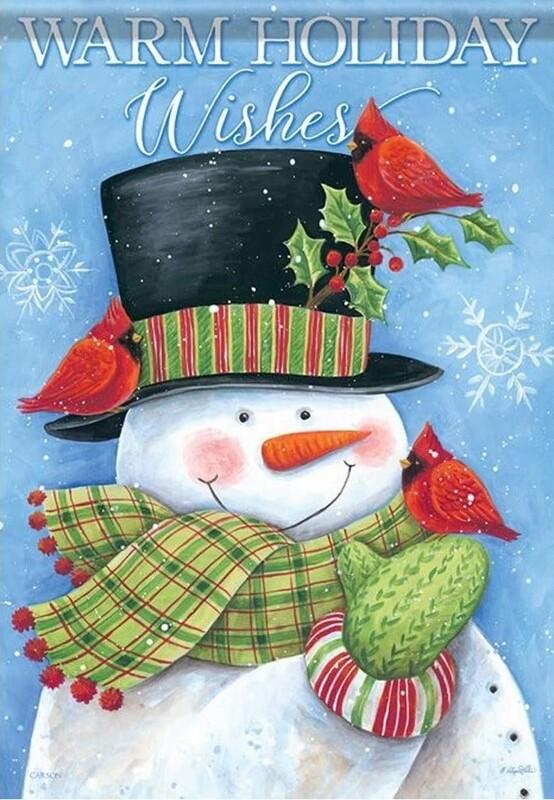 """Cardinal Hat Snowman - House Flag - 28"""" x 40"""""""