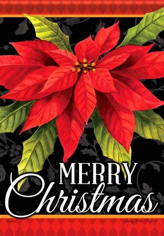 """Poinsettia Christmas - House Flag - 28"""" x 40"""""""