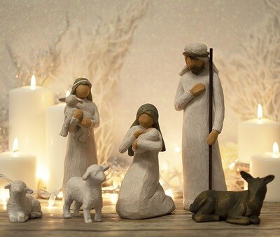 Willow Tree: Nativity Collection - Holy Family Set - 6 pieces with Mary and child, Joseph, 2 sheep, donkey and shepherd
