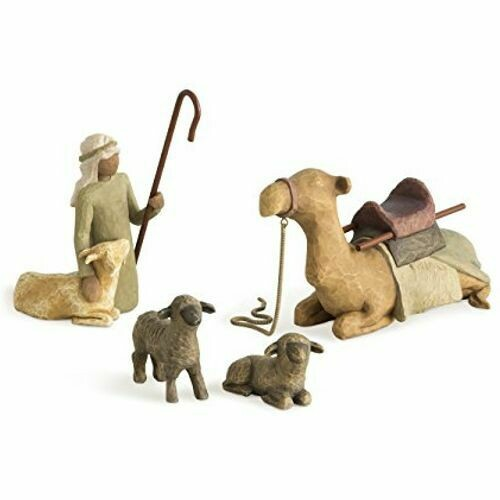 Willow Tree: Nativity Collection - Shepherd and Animals - 4 pieces - camel, shepherd and 2 sheep