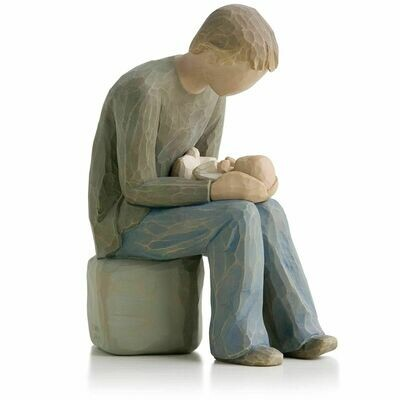 Willow Tree: New Dad - Father sitting holding Baby