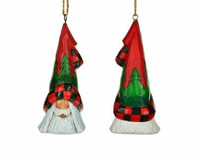 Cottage Carvings Tree Pattern Santa Head Ornament - 5