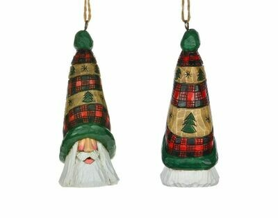 Cottage Carvings Quilt Santa Head Ornament - 5