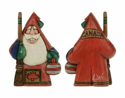 Cottage Carvings Canadian Curler Santa - 6 inches - Canadian Artist Dave Francis