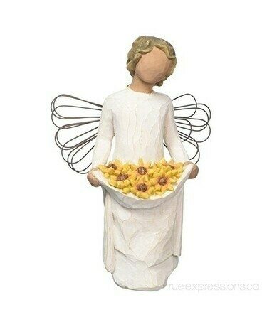 Willow Tree: Sunshine - Angel holding Sunflowers in Dress - Wire Wings