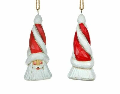 Cottage Carvings Candy Cane Santa Head Ornament - 5
