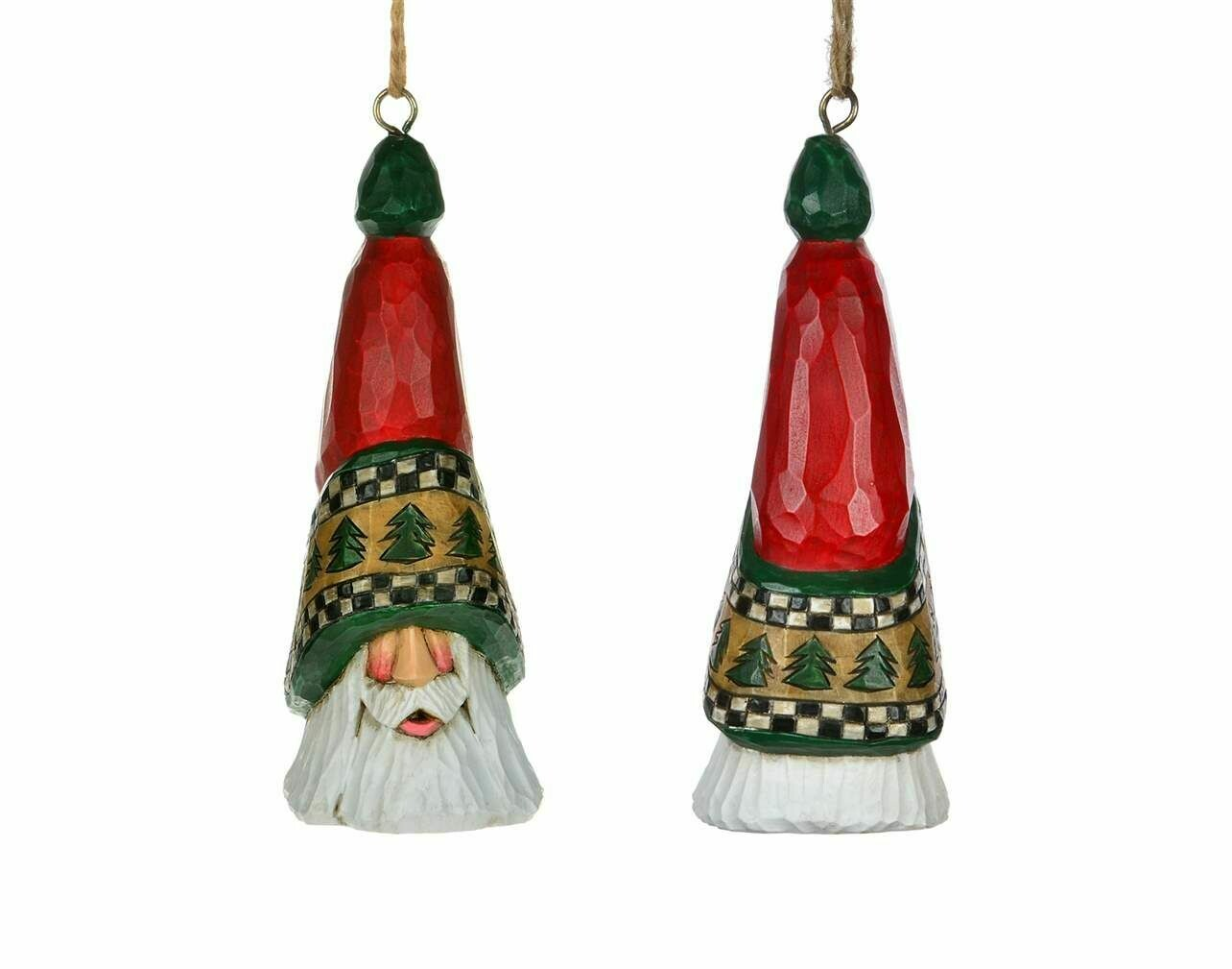 """Cottage Carvings North Star Santa Head Ornament with Trees - 5"""" - will hang or stand - Canadian Artist Dave Francis"""