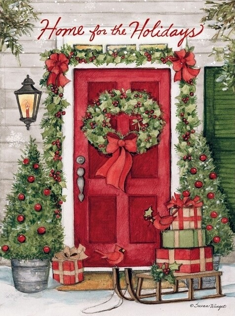 "Lang Christmas Cards Classic - Holiday Door - 12 per Box - 6"" x 4.5"""