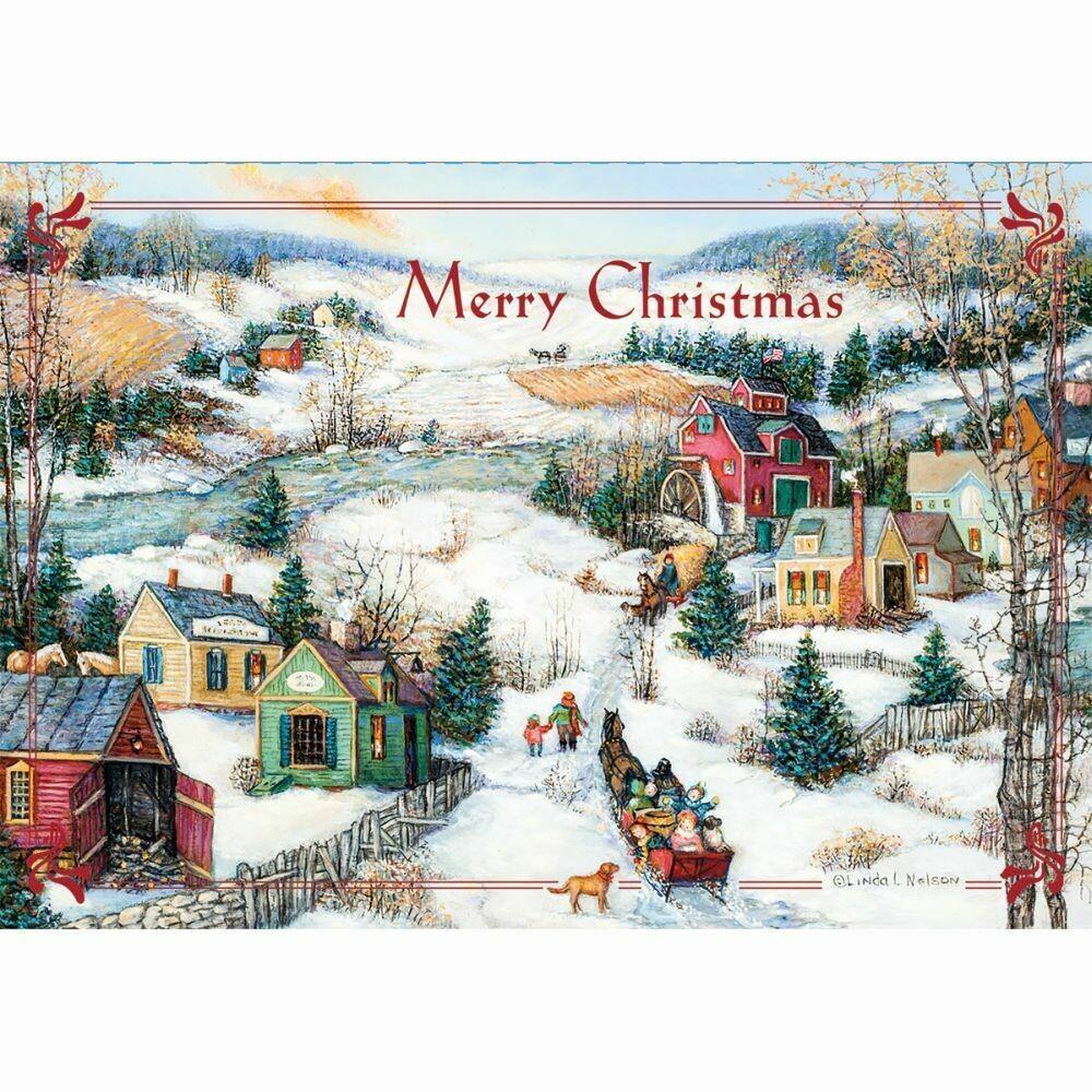 "Lang Christmas Cards Petite - Sleigh Ride - 12 per Box - 5"" x 3.5"""