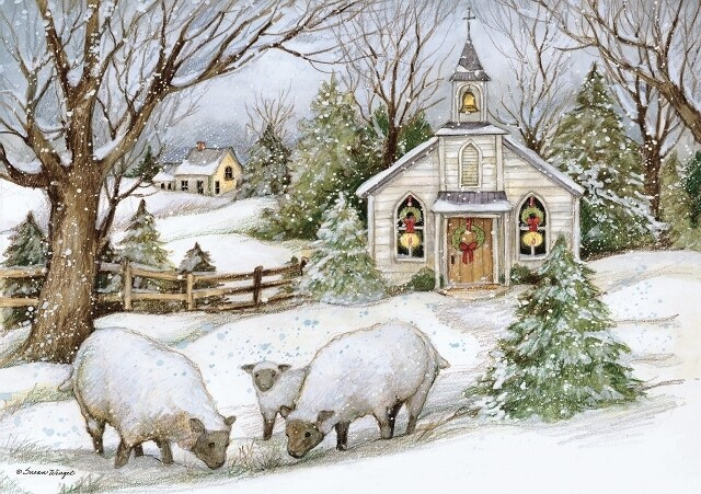 "Lang Christmas Cards Petite - Grazing Morning - 12 per Box - 5"" x 3.5"""