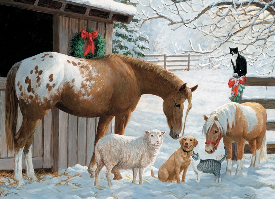 Winter Barnyard - Family Pieces - 350 piece Cobble Hill Puzzle