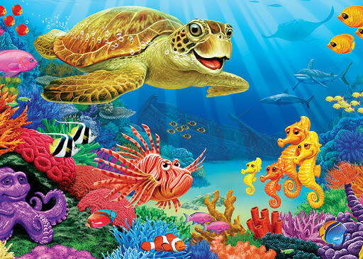 Undersea Turtle Tray Puzzle - 35 pieces - Cobble Hill