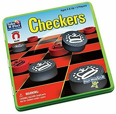 Checkers Game Tin - Magnetic Take and Play