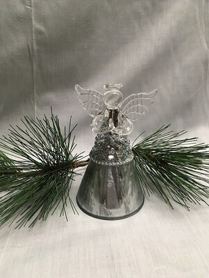 "Glass  Angel / Fairy Ornaments - 5"" - Silver with Sequins"