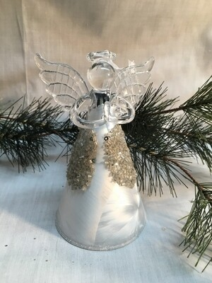 "Glass  Angel / Fairy Ornament - 5.5"" - Frosted Silver with Beads"