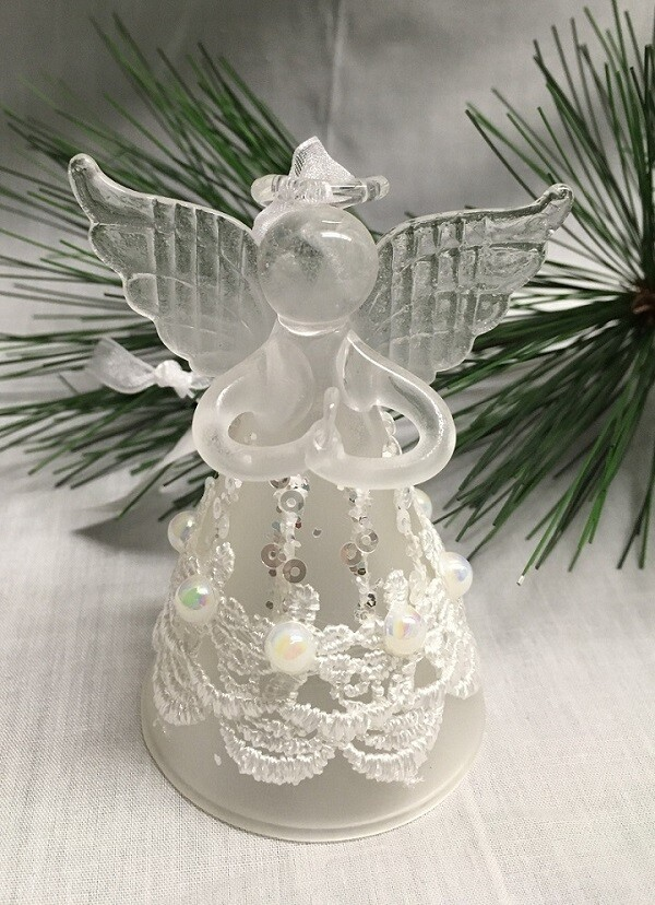"Glass Angel / Fairy Ornament - 5.5"" - Frosted White with Lace and Beads"