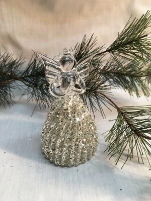"Glass  Angel / Fairy Ornament - 4"" -  Silver Glitter Bell Skirt"