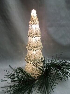 Glass Christmas Tree Decoration - 9.5 inches - Lights up - uses 3 AAA batteries