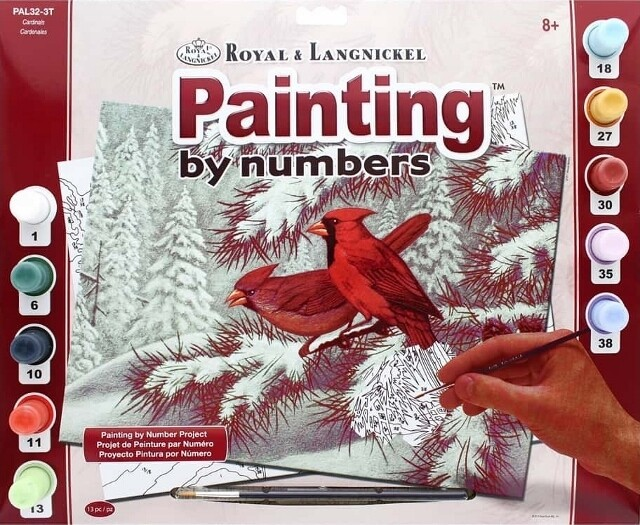 """Paint By Number Large Size - Cardinals - Ages 8 and up  - 11.25"""" x 15.375"""""""